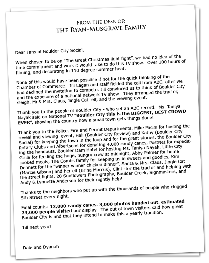 Dale and Dyanah from Boulder City's 5th Street Christmas House Letter