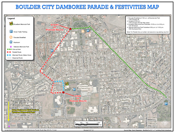 Damboree Parade Route 2012 in Boulder City, NV
