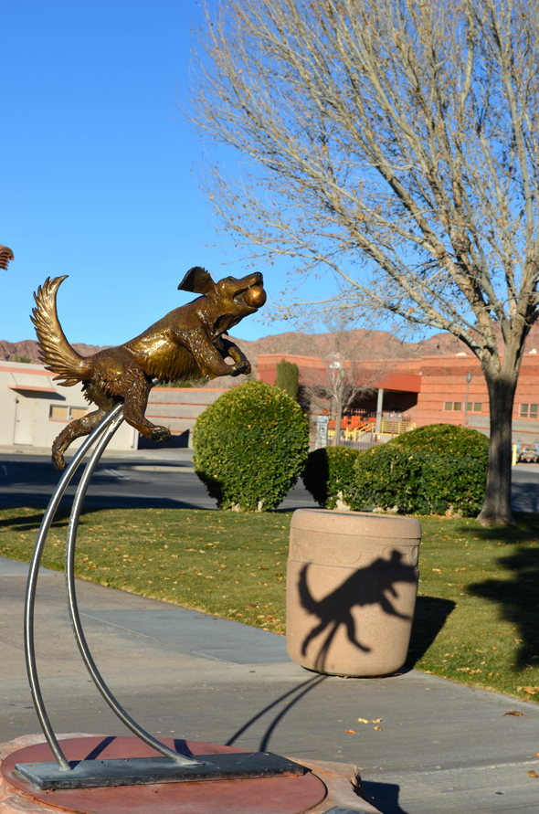 Dog Catching Ball Statue Shadow in Boulder City, NV
