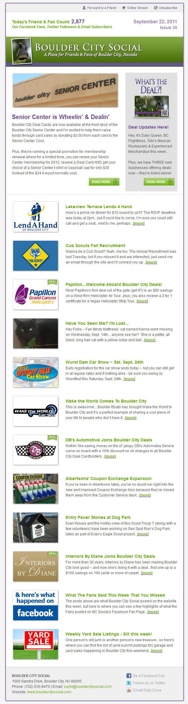 Boulder City Social Weekly eNews from 9/22/11