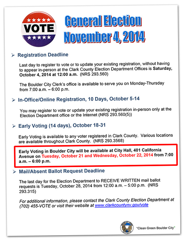 Early Voting Info for Boulder City, Nevada