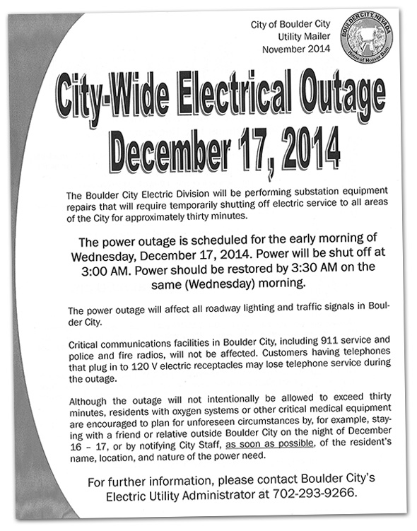 City-wide Electrical Outage in Boulder City, Nevada
