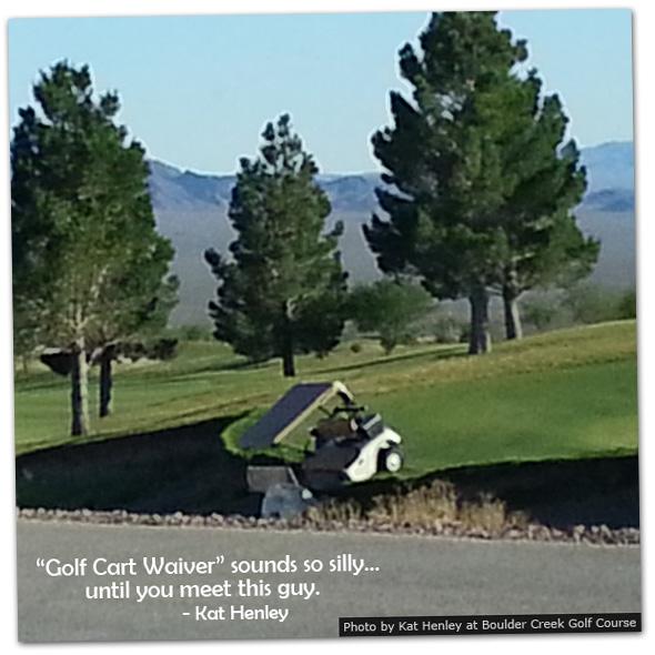 Golf Cart in Boulder City Golf Course Ditch in Nevada
