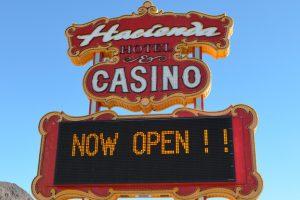 Hacienda Now Open Sign in Boulder City, Nevada