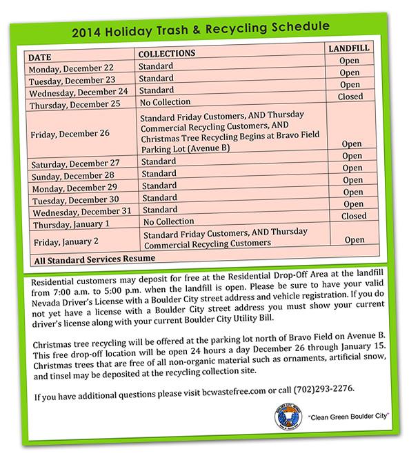 Holiday Trash Schedule 2014 in Boulder City, Nevada