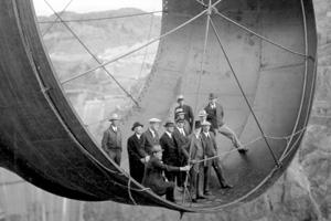 Construction of Hoover Dam near Boulder City, Nevada