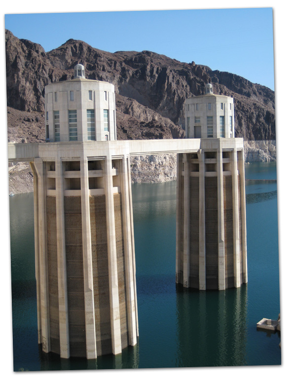 Towers at Hoover Dam near Boulder City, NV