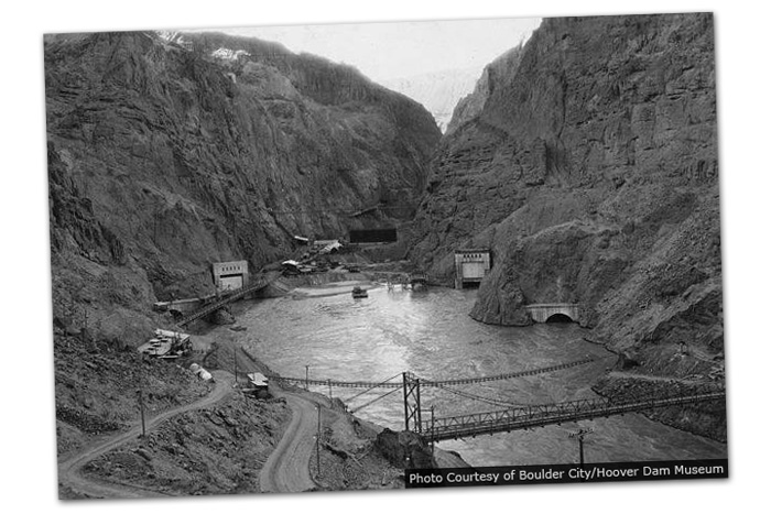 Hoover Dam Water Diverted in 1932