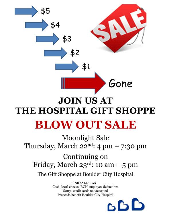 Boulder City Hospital Gift Shop Blowout Sale