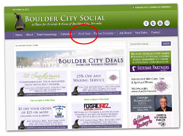 It's A Deal Coupons Page on Boulder City Social