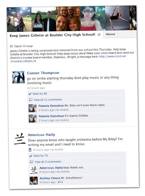 James Gillette Facebook Group for Boulder City, NV