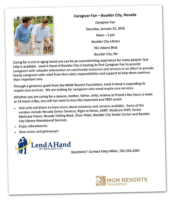 Lend A Hand Caregiver Fair in Boulder City, Nevada