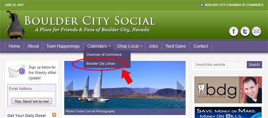 Boulder City Social Calendar Menu Addition