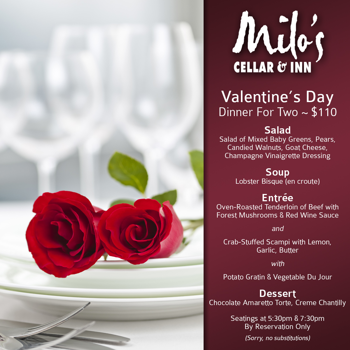 Milos Valentines Day Menu 2018 Boulder City, NV