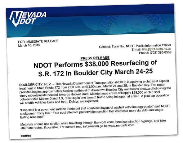 NDOT Repaving in Boulder City, Nevada