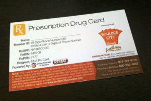 Nevada Drug Card from Boulder City Chamber of Commerce