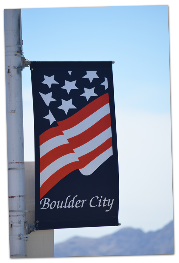 Patriotic Banners on Nevada Highway in Boulder City, Nevada