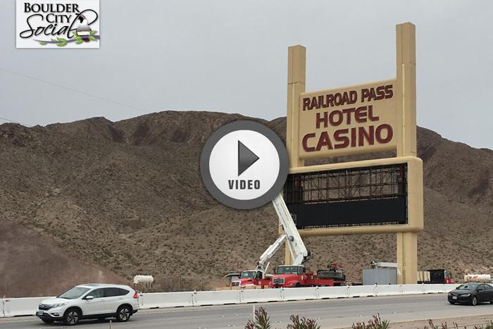 Railroad Pass Sign Construction Near Boulder City, Nevada