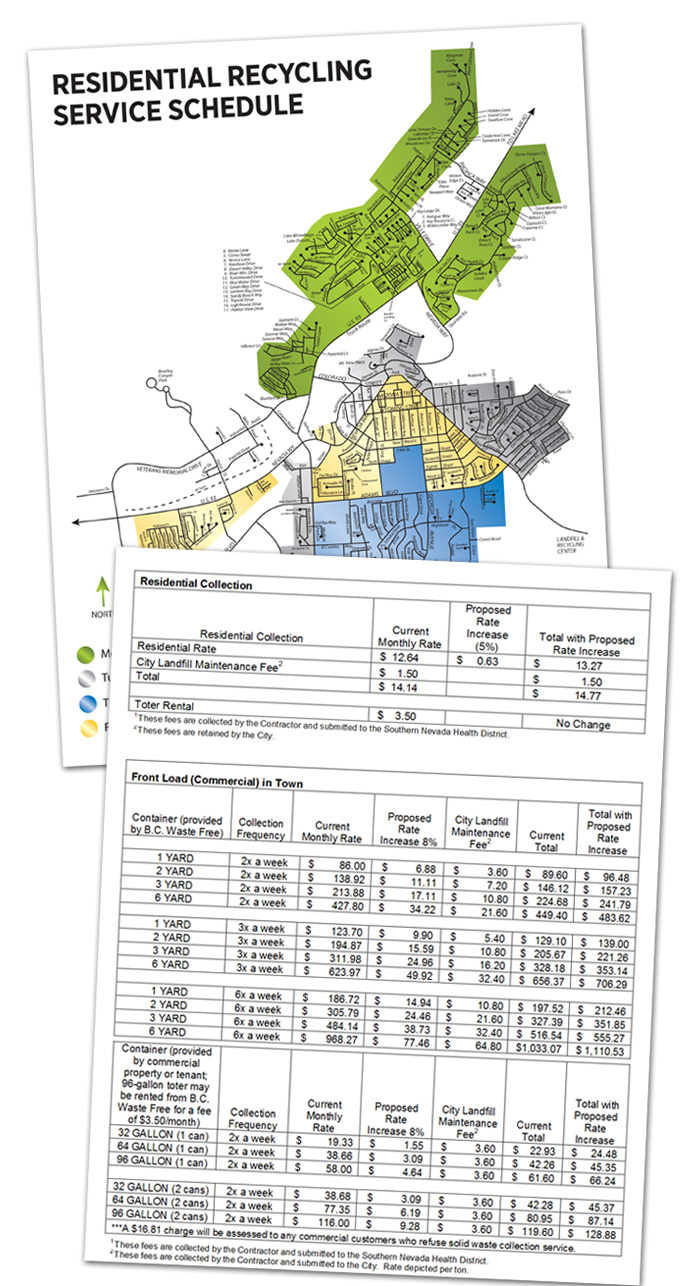 Recycling Schedule Rate Increases in Boulder City, Nevada