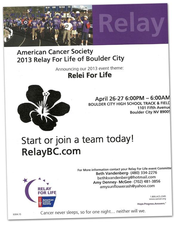 Relay For Life Boulder City Nevada Flyer 2013