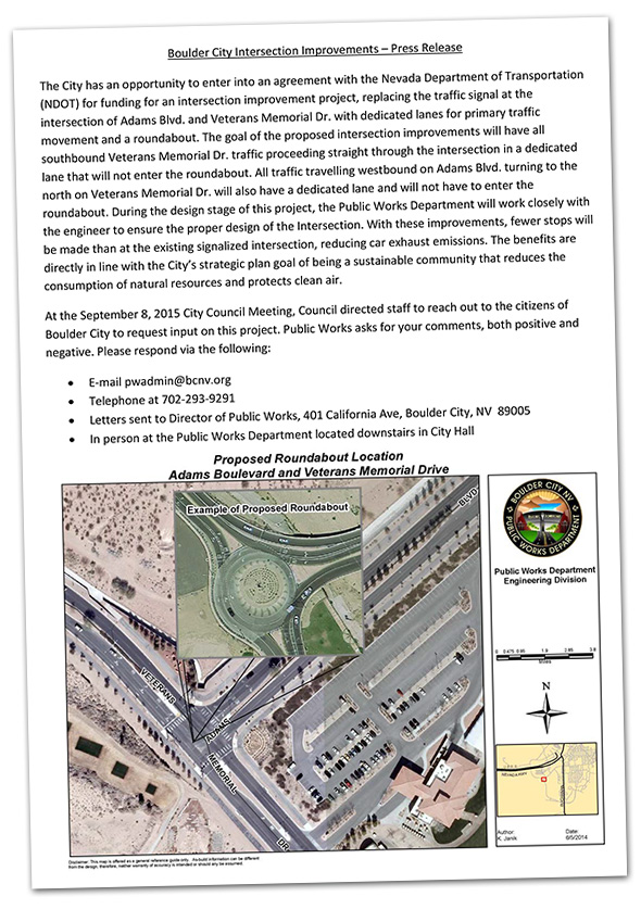 Proposed Roundabout in Boulder City, Nevada