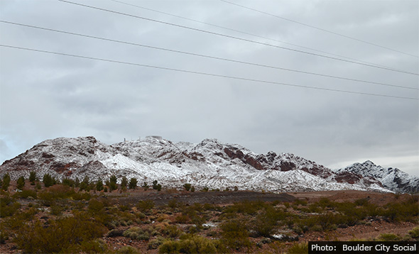 Snow in Boulder City, Nevada - February 2016