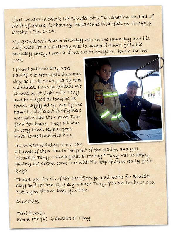Tony Fire Station Birthday Tour in Boulder City, Nevada