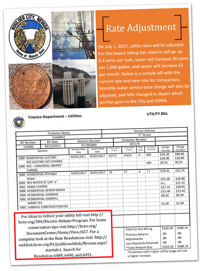Utility Rate Increase in Boulder City, Nevada