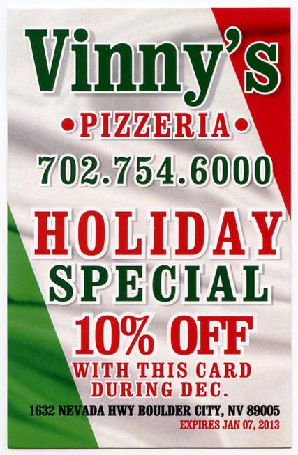 Vinnys Pizza Dec 2012 Coupon Boulder City