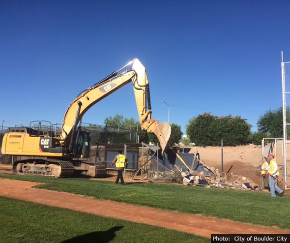 Whalen Field Dugout Demolition in Boulder City, Nevada